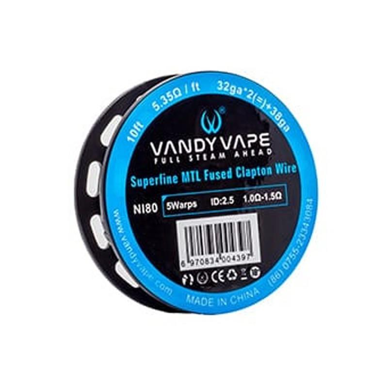 Vandy Vape Ni80 Superfine MTL Fused Clapton Wire 32GA*2 38GA -
