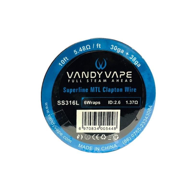 Vandy Vape SS316L Superfine MTL Clapton Wire 30ga+38ga - 10ft -